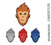 monkey ape head face logo... | Shutterstock .eps vector #1185257170