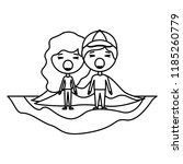 cartoon furious couple on field ... | Shutterstock .eps vector #1185260779