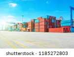 stack of containers box  cargo... | Shutterstock . vector #1185272803