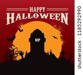happy halloween with moonlight... | Shutterstock .eps vector #1185292990