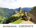 tourist with beautiful... | Shutterstock . vector #1185294373