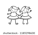 twins girls. sisters. linear... | Shutterstock .eps vector #1185298630