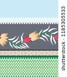 cute flowers border pattern on... | Shutterstock .eps vector #1185305533