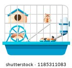 Stock vector cute hamster sit and holding nut another hamster running in wheel hamster cage wheel and 1185311083