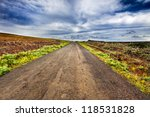 Постер, плакат: Straight gravel road in