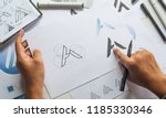 graphic designer drawing sketch ... | Shutterstock . vector #1185330346