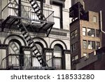 Metal Fire Escape On Facade Of...