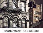 metal fire escape on facade of...