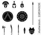 set of ancient greek spartan... | Shutterstock .eps vector #1185343150