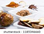 medicine cream  ground conkers... | Shutterstock . vector #1185346660