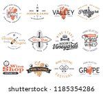 wine logos  labels set. winery  ... | Shutterstock . vector #1185354286
