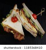 sandwich with chicken  bacon ...   Shutterstock . vector #1185368410