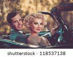 retro couple in convertible   Shutterstock . vector #118537138