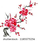 a branch of a blossoming tree.... | Shutterstock . vector #1185375256