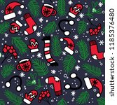 seamless pattern with red... | Shutterstock .eps vector #1185376480