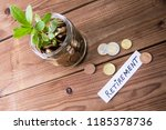 glass jar with coins and... | Shutterstock . vector #1185378736