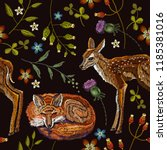 embroidery deers and fox... | Shutterstock .eps vector #1185381016