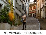 beautiful girl photographer... | Shutterstock . vector #1185383380