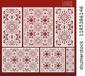 laser cut ornamental set panel... | Shutterstock .eps vector #1185386146