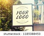 store brand sign mockup in... | Shutterstock . vector #1185388453