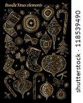 doodle textured christmas... | Shutterstock .eps vector #118539490