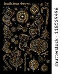 doodle textured christmas... | Shutterstock . vector #118539496
