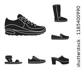 a variety of shoes black icons...   Shutterstock .eps vector #1185400990