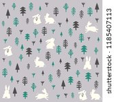 cute pattern design of forest... | Shutterstock . vector #1185407113