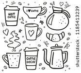 coffee doodle big set. coffee... | Shutterstock .eps vector #1185413239