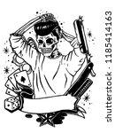 skull vintage hair | Shutterstock .eps vector #1185414163