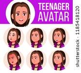 teen girl avatar set vector.... | Shutterstock .eps vector #1185418120