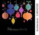 doodle textured christmas... | Shutterstock .eps vector #118542328