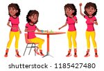 teen girl poses set vector.... | Shutterstock .eps vector #1185427480