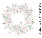floral wreath with apple or... | Shutterstock . vector #1185430516