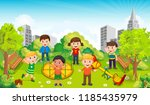children play in the middle of... | Shutterstock .eps vector #1185435979
