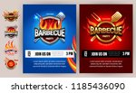 bbq 2colorful poster template... | Shutterstock .eps vector #1185436090