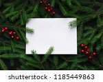 fir tree branches decorated... | Shutterstock . vector #1185449863