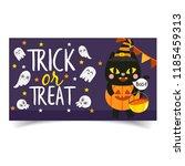 cute cartoon halloween banner. | Shutterstock .eps vector #1185459313