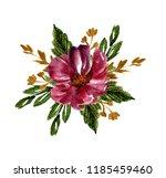 watercolor vintage bouquet.... | Shutterstock . vector #1185459460