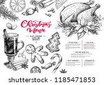 christmas menu. winter... | Shutterstock .eps vector #1185471853