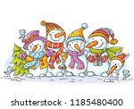 happy colorful snowmen with... | Shutterstock .eps vector #1185480400