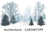 silhouette of winter snowy... | Shutterstock .eps vector #1185487399