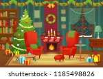 decorated christmas room.... | Shutterstock .eps vector #1185498826