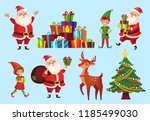 cartoon christmas characters.... | Shutterstock .eps vector #1185499030