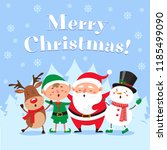 cute christmas greeting card.... | Shutterstock .eps vector #1185499090