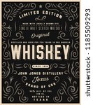 hand drawn whiskey label with... | Shutterstock .eps vector #1185509293
