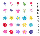 floral flat vector icons   | Shutterstock .eps vector #1185512026