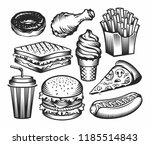 set fast food with drinks .... | Shutterstock .eps vector #1185514843