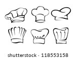 chef hat silhouette set