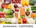 assortment of fresh colorful... | Shutterstock . vector #1185542806